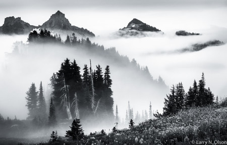 Another image shot on the same trip... high peaks of the Tatoosh Range and ridges are silhouetted in layers of clouds and fog.